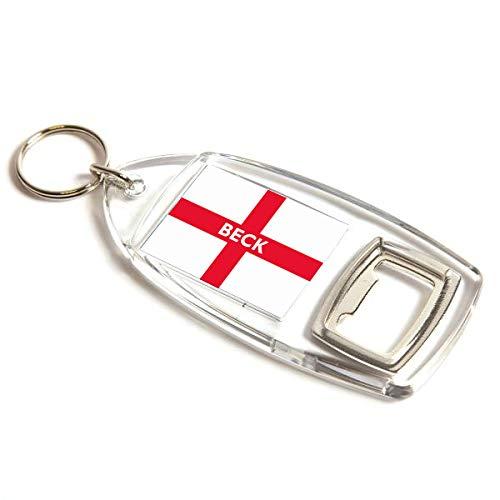 Flaschenöffner – Beck – St George Cross/England Flagge – Geschenk für Nachnamen