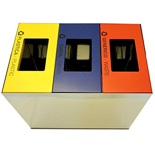 Contenitore Rifiuti modulare ROOM EWH con coperchio colorato aperto e anello reggisacco - 3 x 15 litri - Acciaio inox lucido (ROSSO generico, GIALLO plastica e BLU carta) Linea Esclusiva EcoWorldHotel