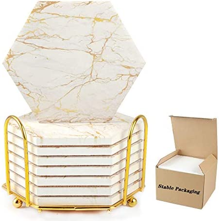 Marble Coasters for Drinks Absorbent with Cork Base 8 Pcs Drink Coasters for Wooden Table with product image