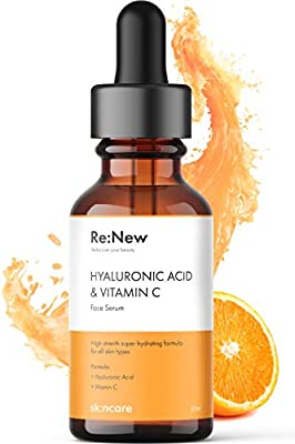 Re:New Pure Hyaluronic Acid and Vitamin C Serum - Eyes & Face - Anti Ageing & Anti Wrinkle - Plump, Hydrate & Brighten Your Skin - Made In The UK Cruelty Free