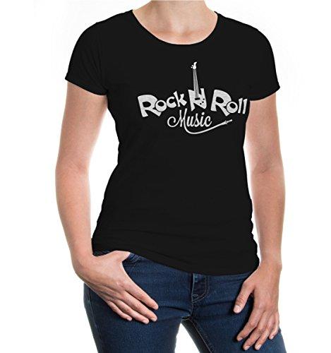 buXsbaum® Damen Kurzarm Girlie T-Shirt Bedruckt Rock n Roll Music | Musikstil Genre Musik | S, Schwarz