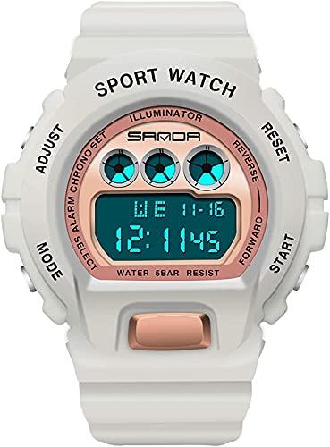 QHG Orologio Sportivo Uomo Moda alla Sveglia Casual Orologio Impermeabile Chrono Military Chrono Dual Explay Wristwatch per Ragazza (Color : Whitegold)