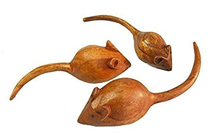treehouse Set of 3 Hand Carved Wooden Mice
