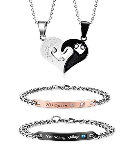 Couple Necklace Bracelets Sets,I Lo…