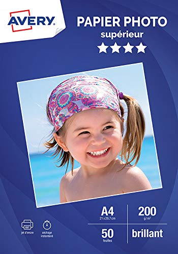 AVERY - 50 feuilles de papier photo 200g/m² brillant, Format A4, Impression jet d'encre,