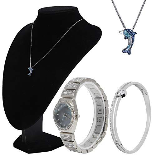 SALUTUYA Reloj Pulsera, Collar, Reloj, Pulsera, Collar, Duradero, antidesvanecimiento, Exquisita Mano de Obra, para Bailes, Eventos, Damas de Honor