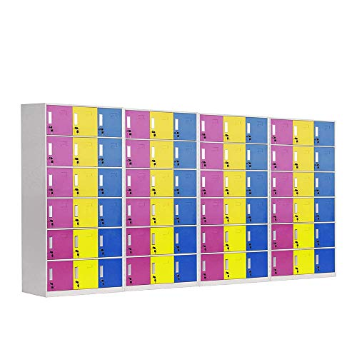 Racking Solutions 4 taquillas de almacenamiento de metal de 18 puertas, unidades de acero multicolor con cerradura, cambio de personal