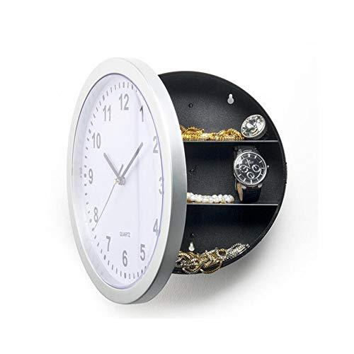 N / C Creative Hidden Secret Safe Box Reloj de Pared, Reloj de Cuarzo Redondo de 10 Pulgadas, Grandes Figuras Negras en Vivo con batería Ideal, para Cocina casera