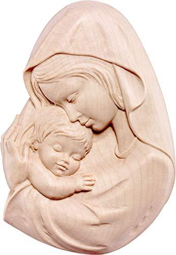 Ferrari & Arrighetti Relieve Virgen con el Niño en Talla de Madera con Acabado Natural para Colgar en la Pared - 12 cm de Altura - Demetz Deur