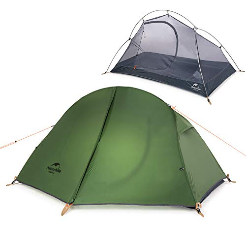 Naturehike Backpacking Camping Tent 1 Person Ultralight Waterproof Compact Portable for Outdoor Hiking Cycling Bikepacking, 3 Season, Easy Setup, Anti-UV, Large Size with Footprint - 20D Green