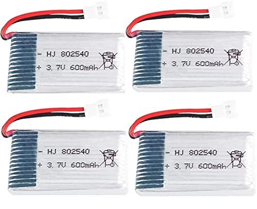 YUNIQUE ITALIA 4 Pezzi Batteria Lipo Ricaricabile 3.7v, 600 mAh per Rc Droni Quadricotteri Syma X5 X5C X5SC X5SW, Cheerson CX-30W, Skytech M68, Wltoys F949