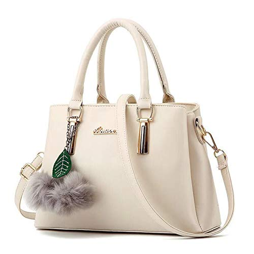 Dreubea Women's Leather Handbag Tote Shoulder Bag Crossbody Purse Beige
