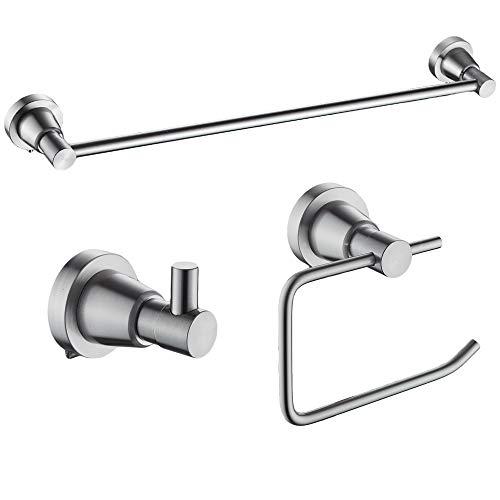Cavoli Bathroom Hardware Accessory Set Wall Mounted, Aluminum Adjustable Towel Bar(18''-24''), Robe Hook, Toilet Paper Holder, 3-Piece Rustproof Brushed Nickel Finish