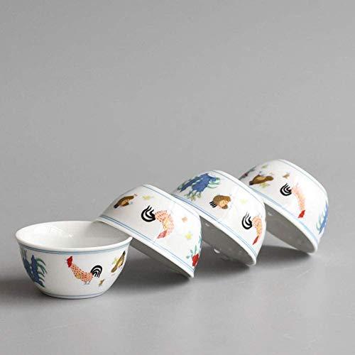 ZQADTU Taza de té de degustación de patrón de Gallo arcaístico, Taza de té de cerámica de Kungfu Chino, tazón pequeño