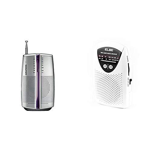 Grundig Radio portátil City 31 / PR 3201 Chrome + Elbe RF-50 Miniradio de bolsillom sintonizador analógico Am/FM, Auriculares incluidos