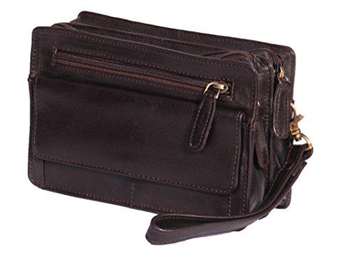 A1 FASHION GOODS Homme poignet Real Sac en cuir d'embrayage Voyage Brun Cab Mobile Money Organisateur Man Bag A210