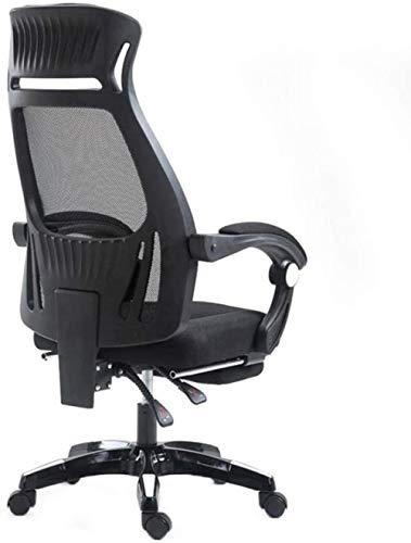 HZYDD Silla de computadora, Silla de Oficina for el hogar, sillón reclinable, Malla ergonómica, Silla de elevación Simple, Blanco, Negro, Nombre de Color: Blanco (Color : Black)