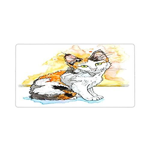 Alfombrilla de ratón para Juegos 30X80CM,Ilustración de Gatito calicó en Blanco,Base de Goma Antideslizante,Adecuada para Jugadores,PC y portátiles