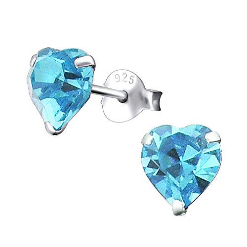Laimons Pendientes para mujer Corazón Azul Brillante Plata de ley 925