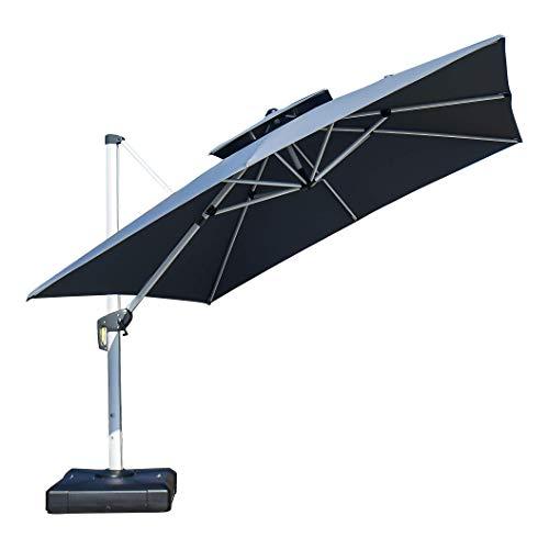 PURPLE LEAF 300 X 300 cm Sonnenschirm Gartenschirm Kurbelschirm Ampelschirm Terrassenschirm, Grau