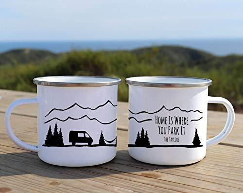 Taza de camping Home is Where You Park It personalizada, esmaltada, taza de aventura, regalo de camping para papá, taza de café rústica, decoración de camper