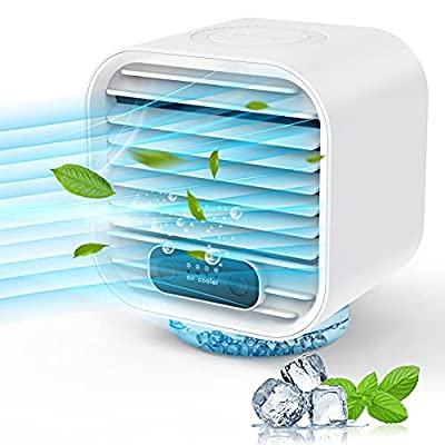Divava Portable Air Conditioner, Rechargeable 2000mAh 4 in1 Personal Mobile Air Conditioner 100% Leakproof Design, Portable Mini Air Cooler Evaporative Cooler Conditioner Fan with 3 Speeds