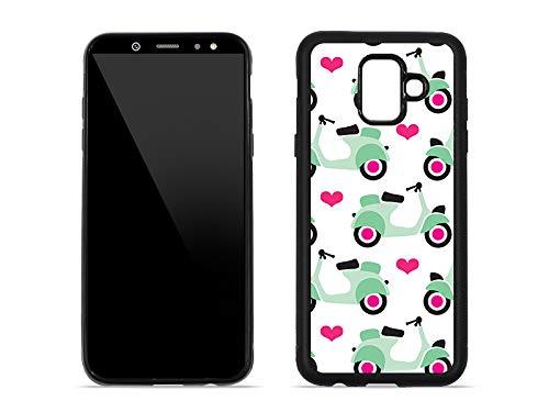 etuo Handyhülle für Samsung Galaxy A6 (2018) - Hülle Hybrid Fantastic - Pastell-Motorroller - Handyhülle Schutzhülle Etui Case Cover Tasche für Handy