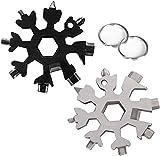 Wabin 18 in 1 strumento multifunzione portatile in acciaio inossidabile con fiocco di neve, 2 pezzi cacciavite multifunzione con fiocco di neve apriscatole Strumenti incredibili (nero e argento)