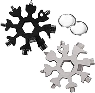 Wabin 18 en 1 copo de nieve de acero inoxidable portátil multi-herramienta, 2 Pieces destornillador multifunción de nieve abrelatas anti-pérdida llavero portátil herramientas (Black and Silver)
