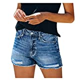 Denim Shorts for Women Distressed Ripped Jean Shorts Stretchy Frayed Raw Hem Hot Short Jeans with Pockets