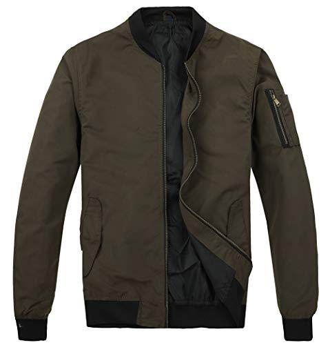 MADHERO Mens Bomber Jacket Lightweight Slim Fit Softshell Windbreaker Olive L