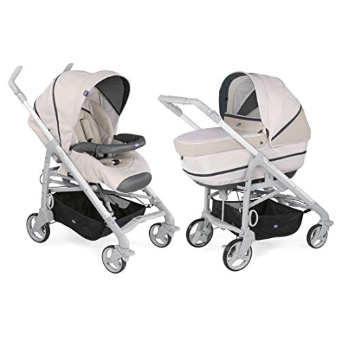 Chicco Love Up - Cochecito con capazo y silla de paseo. Compacto y plegable, color marrón (Beige)