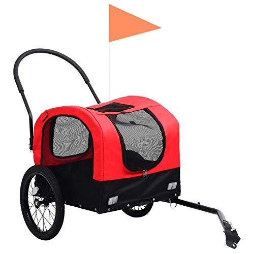 Irfora 2-in-1 Tier-Fahrradanhänger und Jogger Haustier-Fahrradanhänger Faltbar Hundeanhänger Hunde Fahrrad Tier Anhänger Rot und Schwarz