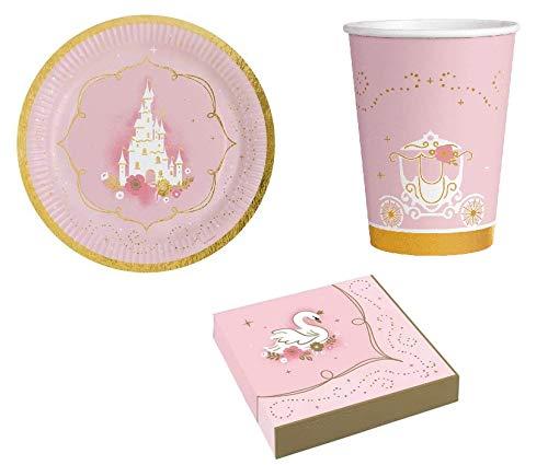 ILS I LOVE SHOPPING Juego de mesa para decoración de fiesta de princesa, juego con 8 platos de 23 cm, 8 vasos y 16 servilletas (Princesa para un día)