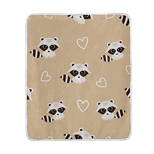 LIUBT - Manta con diseño de mapaches y corazones, suave, cálida y ligera, para cama, sofá, viajes, camping, 152,4 x 127 cm