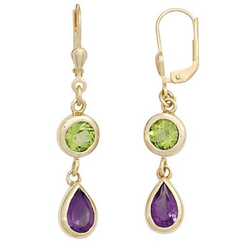JOBO Damen-Ohrhänger aus 585 Gold mit Amethyst Tropfen und Peridot Oval