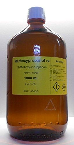 1000 ml Methoxypropanol 99%, 1-Methoxy-2-propanol, Lösungsmittel für Druckfarben und wasserlösliche Kunstharze, Veredelungsmittel
