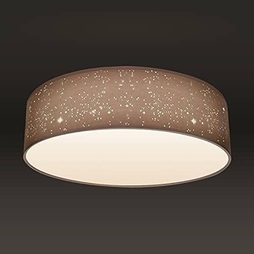 Nakeey Textil-Sternenhimmel Deckenlampe Taupe Ø40cm, Textil Stoffschirm Deckenlampe Deckenleuchte Stoffdeckenleuchte rund I 2-flammig E27 I ohne Leuchtmittel