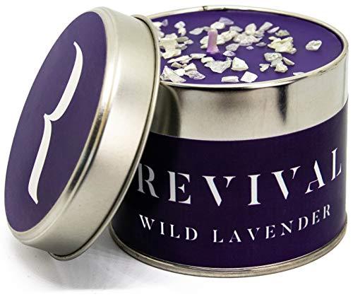 Revival Wilder Lavendel Kerze - Wunderschön aufgegossen mit süßen und warmen natürlichen, ätherischen Ölen - 45 Stunden Brennzeit