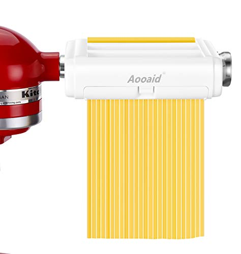 All-in-1 Pasta Maker Attachment for KitchenAid Stand Mixers, Including Fettuccine and Spaghetti Cutter,Pasta Sheet Roller, Pasta Maker Accessories by Aooaid