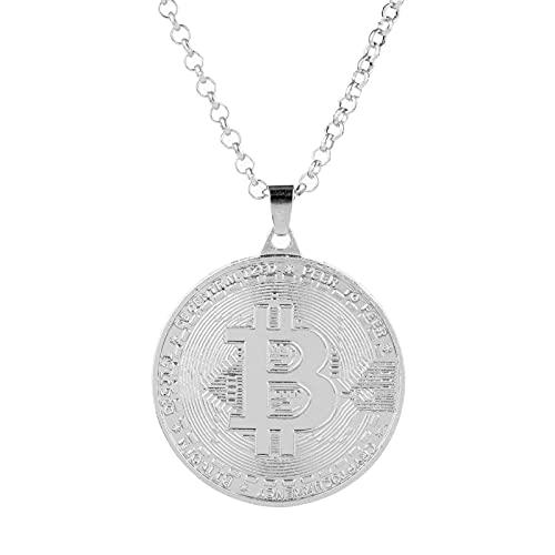 MIKUAJ collarNuevo Punk Hiphop Rose Gold Silver Color Bitcoin Forma Colgante de Metal Collares para Hombres Mujer Amigos Regalo de la joyería