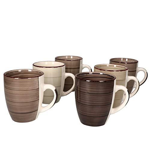 MamboCat Grey Baita 6-er Kaffee-Becher-Set grau I graue Steingut-Tasse groß mit Strudel-Muster I moderne Landhaus-Stil Jumbo-Tee-Tasse - Tea & Coffee Mug I 350 ml Kaffee-Tassen-Set groß 6 Stück
