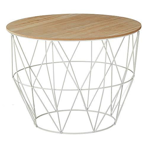 Beistelltisch Couchtisch im Industrie Design aus Metall mit Holz Tischplatte Ø 56 cm H 40 cm (einzeltisch Korb weiß Ø 56 cm H 40 cm)