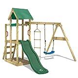 WICKEY Aire de jeux Portique bois TinyPlace avec balançoire et toboggan vert, Maison enfant exterieur avec bac à sable, échelle d'escalade & accessoires de jeux
