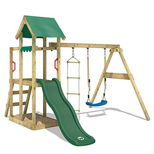 WICKEY Spielturm Klettergerüst TinyPlace mit Schaukel & grüner Rutsche, Spielhaus mit Sandkasten & Strickleiter