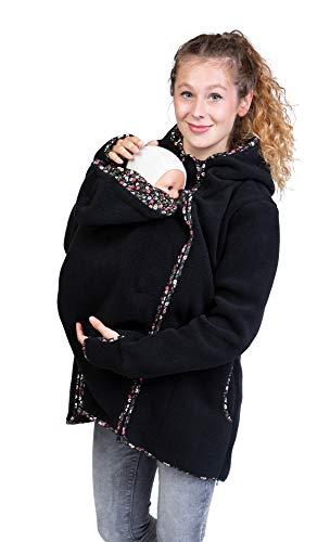 Viva la Mama - 4in1 Jacke für Rückentragen, Vorntragen aus Fleece, Umstandsjacke Winter - Janko schwarz/Blümchen - M