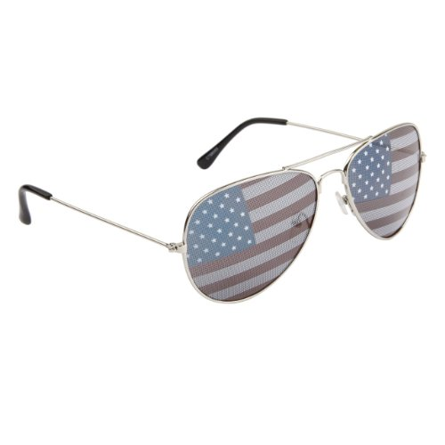 MyPartyShirt American Flag Aviator Sunglasses with Silver Frames