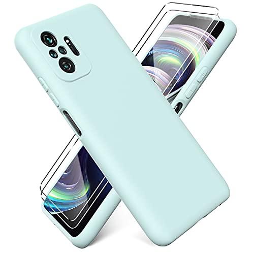 Ikziwreo - Funda para Xiaomi Redmi Note 10 Pro + [2 Pack] Protector Pantalla, Carcasa de Silicona Líquida Gel Ultra Suave Funda con tapete de Microfibra Anti-Rasguño - Verde Claro