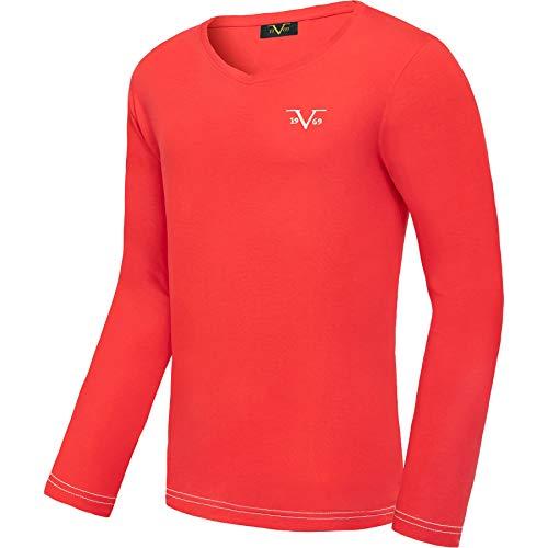 Versace 1969 Abbigliamento Sportivo SRL 19V69 Langarmshirt V-Neck Herren V116 by (Model: C583 - Herren, rot; Größe: XL) FBA