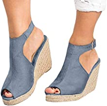 Aniywn Womens Espadrille Platform Wedge Sandals Ankle Strappy Peep Toe Slingback High Heel Summer Sandals Gray